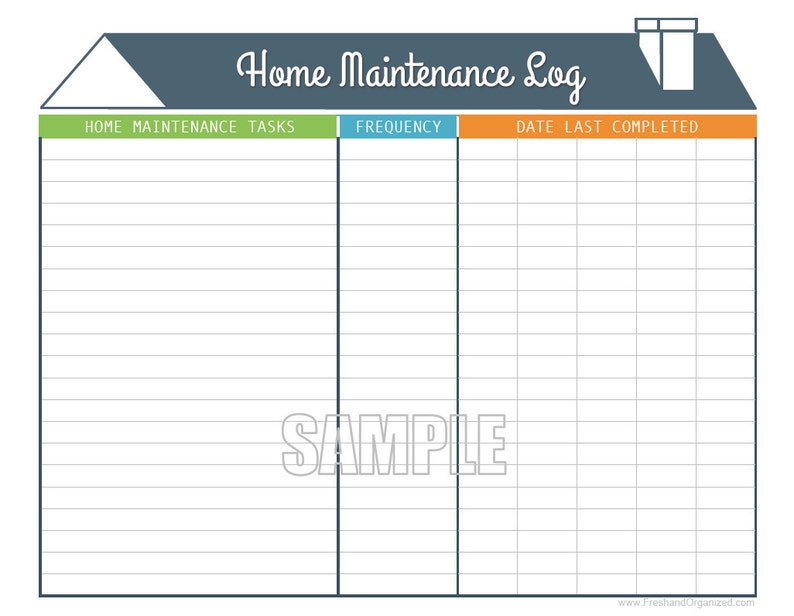 photograph about Printable Maintenance Log called Residence Repair service Log - Printable and Fillable Preparing PDF - Immediate Down load