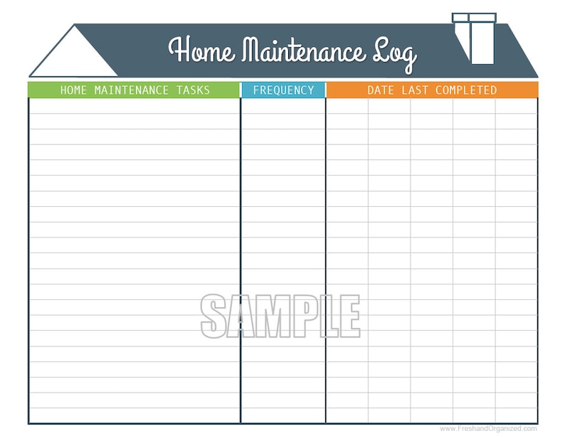Home Maintenance Log - Printable and Fillable Organizing PDF - INSTANT  DOWNLOAD