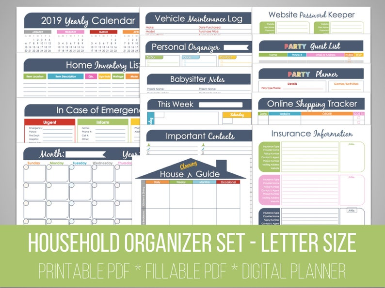 graphic regarding Home Organization Printables referred to as Spouse and children Binder Fixed Fillable Setting up Printables, Spouse and children Manage, Supper Creating and Kitchen area Company, Cash Manage