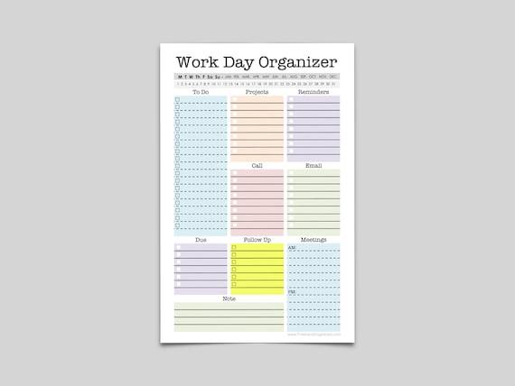 mini work organizer half letter size printable planner