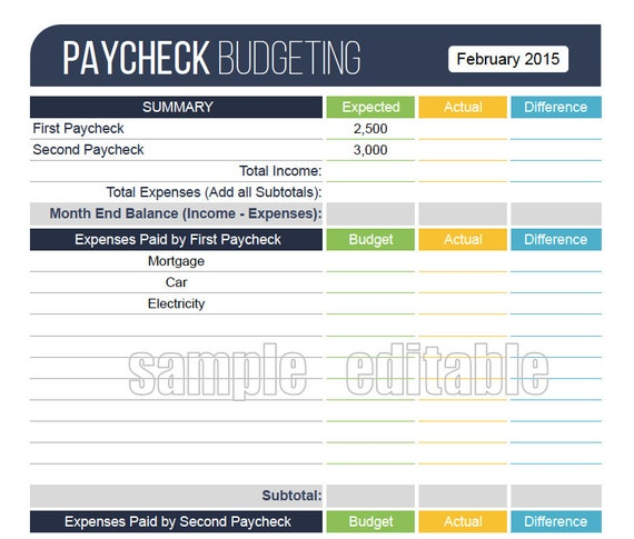 Paycheck Budgeting Worksheet EDITABLE Personal Finance