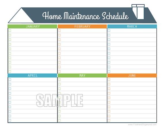 home maintenance schedule home maintenance calendar etsy