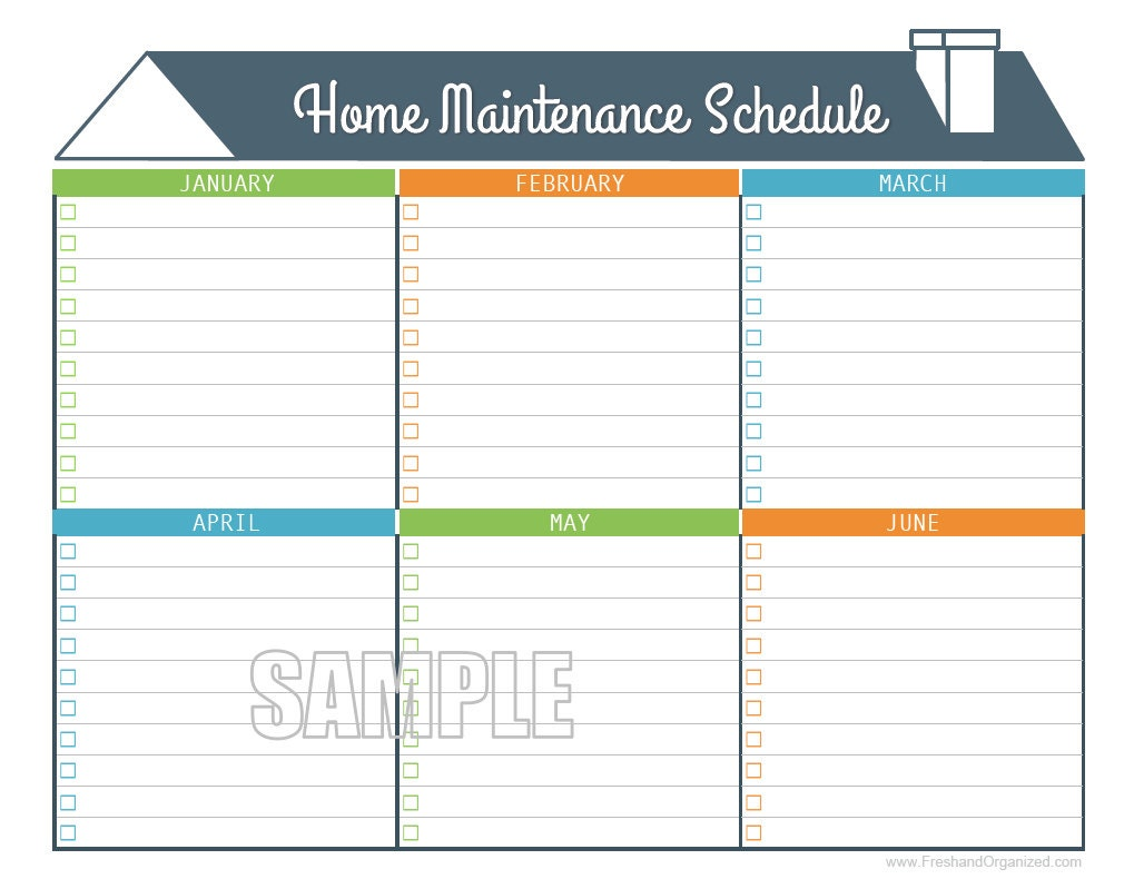 Home Maintenance Schedule - Home Maintenance Calendar - Printable and  Fillable Organizing PDF - INSTANT DOWNLOAD