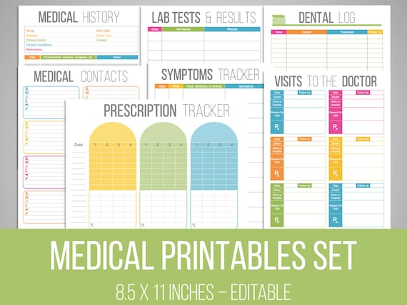 medical printables set organizing printables editable etsy