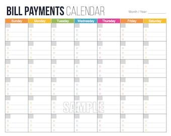 Bill Payments Calendar - Personal Finance Organizing Printables, Financial Binder, Bill Tracker, Digital Planner, Fillable PDF, Expenses