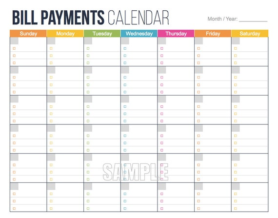 photo about Bill Printable known as Monthly bill Expenses Calendar - Unique Finance Preparing Printables, Economic Binder, Invoice Tracker, Electronic Planner, Fillable PDF, Costs