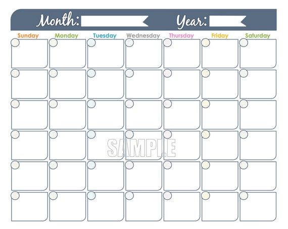 Monthly Calendar Printable Undated Fillable Family Etsy