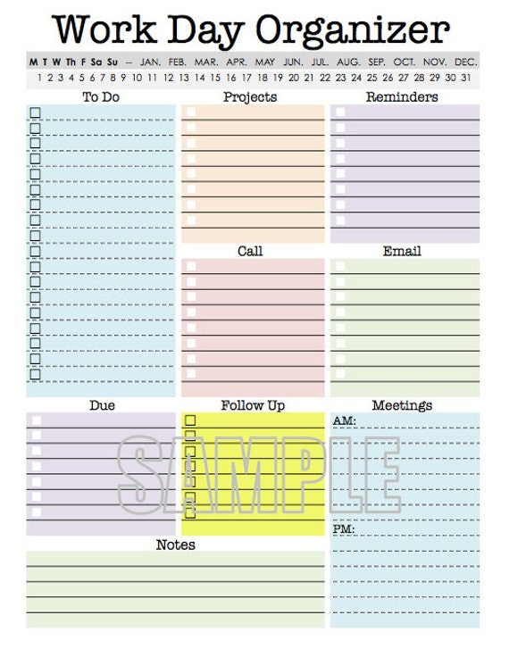 work day organizer planner page work planner printable etsy