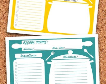 Recipe Cards - Printable - Editable - INSTANT DOWNLOAD