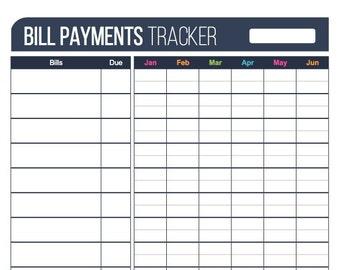 Bill Payments Tracker Plus - Printable PDF, Fillable PDF, Personal Finance Tracker, Bill Tracker, Bill Organizer, Digital Planner, Download