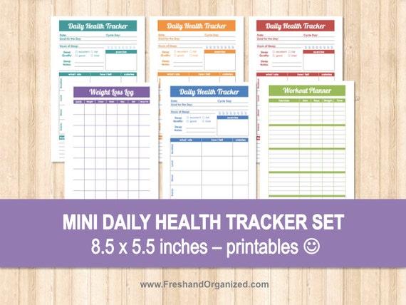 mini daily health tracker set 8 5 x 5 5 size organizing etsy