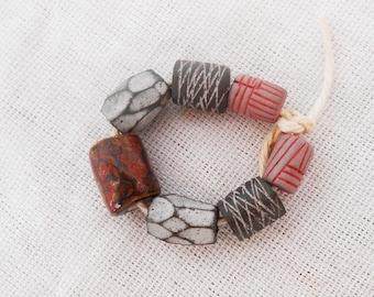 African Cylinder Beads; Handmade Artisan Ceramic Beads; Handmade in South Africa