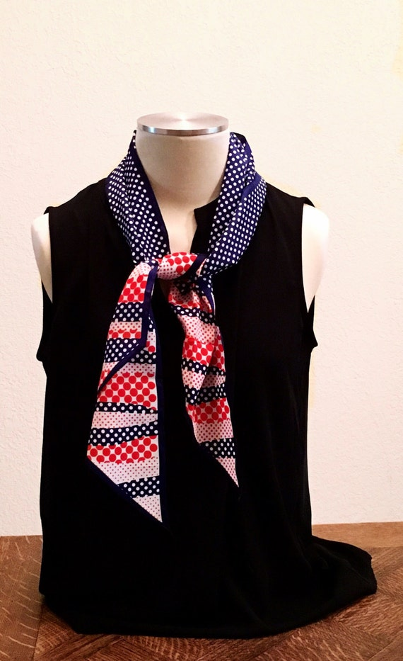 Vintage Scarf. Red, White, and Blue Scarf. Scarf.