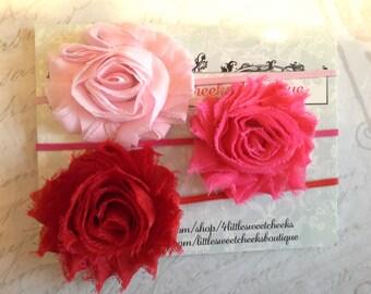 baby headbands set lot, vintage headbands, flower headbands, shabby chiffon headbands, baby headbands, pink headbands,  headband set