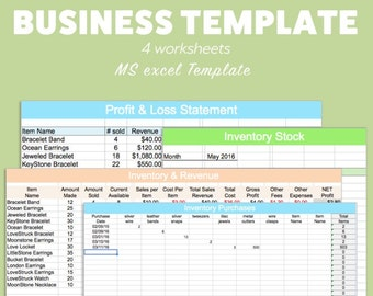 Excel etsy business excel template profit loss inventory expense revenue ms microsoft spreadsheet organizer planner download editable fillable track accmission Image collections