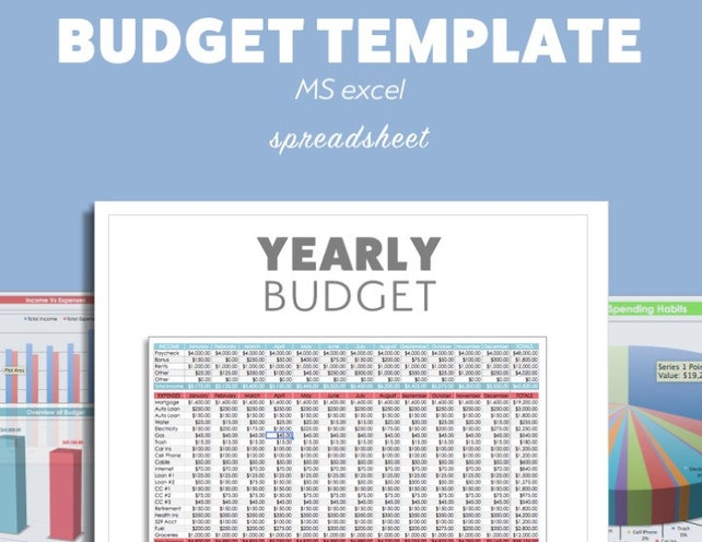 Excel BUDGET Planner Template MS Microsoft Debt Budget | Etsy