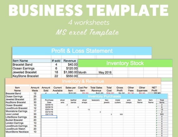 Business excel template profit loss inventory expense revenue etsy image 0 fbccfo Images