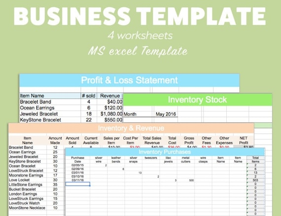 Business excel template profit loss inventory expense revenue etsy image 0 friedricerecipe Images