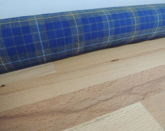 Long door draft Stopper. Door or window snake. Draught excluder. House and home accessory.eco friendly energy saver. Blue and gray tartan.