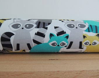 Racoon print draft stopper. Door or window snake. Draught excluder. House and home accessory.eco friendly energy saver