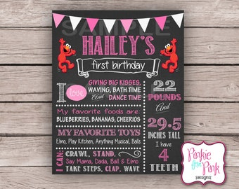 Personalized First Year Sesame Street Elmo Birthday Party Poster- Pink 1st birthday Elmo Cookie Monster chalkboard Digital File Download
