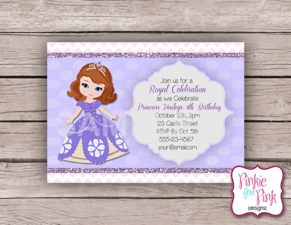 Personalized Sofia The First Birthday Party Invitation Etsy