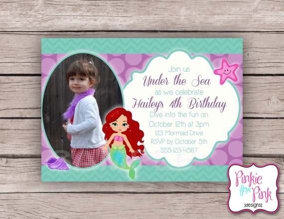 Personalized The Little Mermaid Birthday Party Invitation Etsy