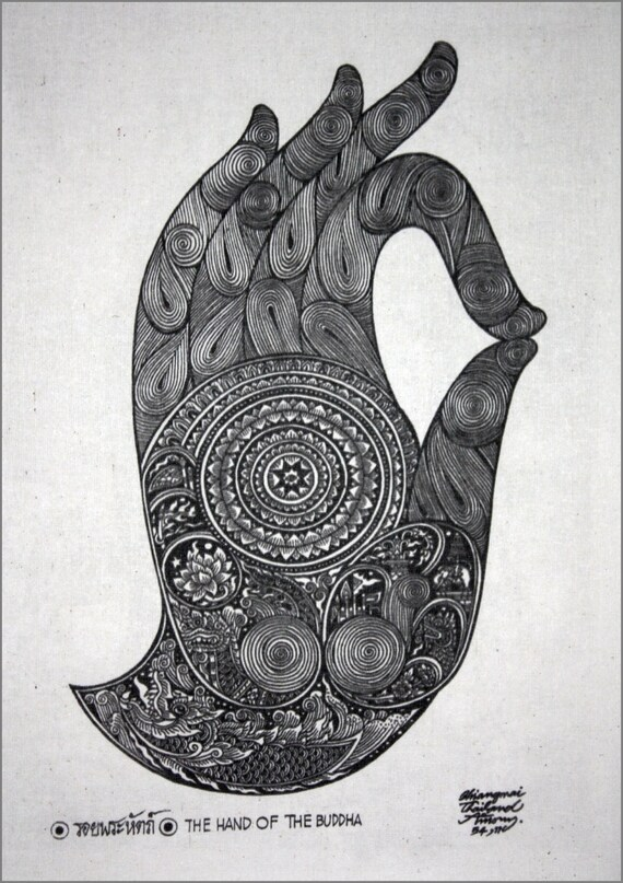 Thai Traditional Art Of Hand Of The Buddha By Printing On Etsy