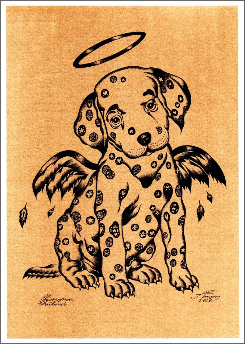 Thai traditional art of dogs by printing on sepia paper.