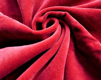 1980s VINTAGE VELVETEEN Cranberry Red Fabric // Dressmaking Sewing Home Decor Interiors - 140cm wide (B3)
