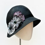 SALE - Handmade Black Straw Woman's Hat // 1920s Flapper Phrynne Fisher Cloche // French Wired Ribbon Flowers