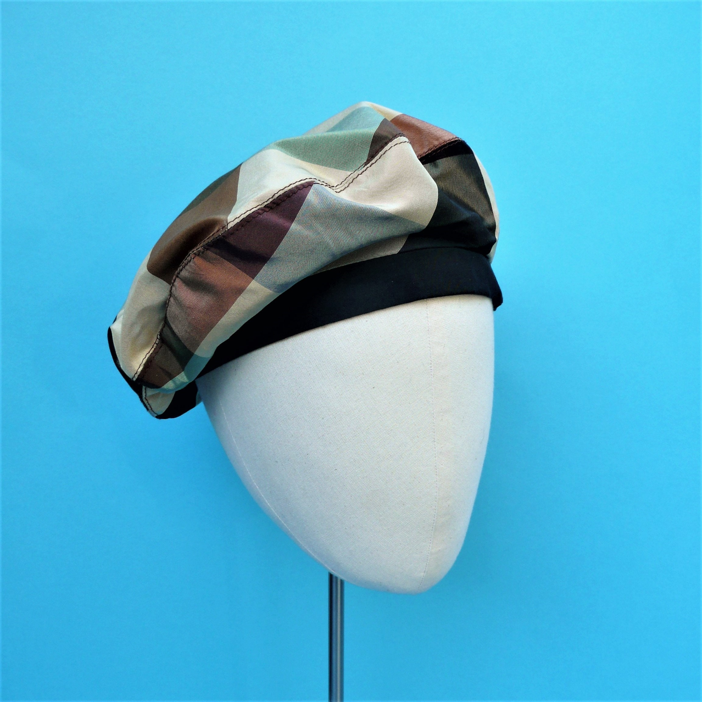bb0563475 Coco Chanel Style Beret // Sailor Beret // Vintage Style French Beret //  Women's Beige Check Shot Silk Hat - SMALL