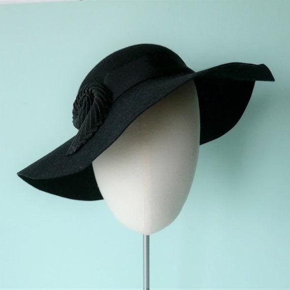 ORIGINAL 1930s VINTAGE Wide Brim Floppy Black Fel… - image 2