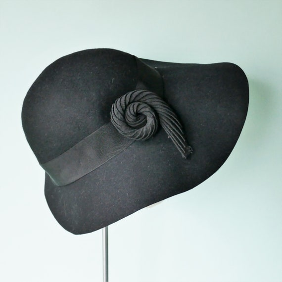 ORIGINAL 1930s VINTAGE Wide Brim Floppy Black Fel… - image 3