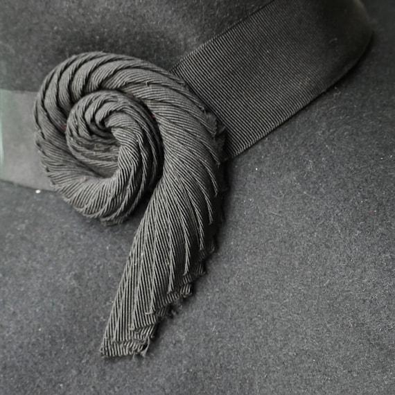 ORIGINAL 1930s VINTAGE Wide Brim Floppy Black Fel… - image 7