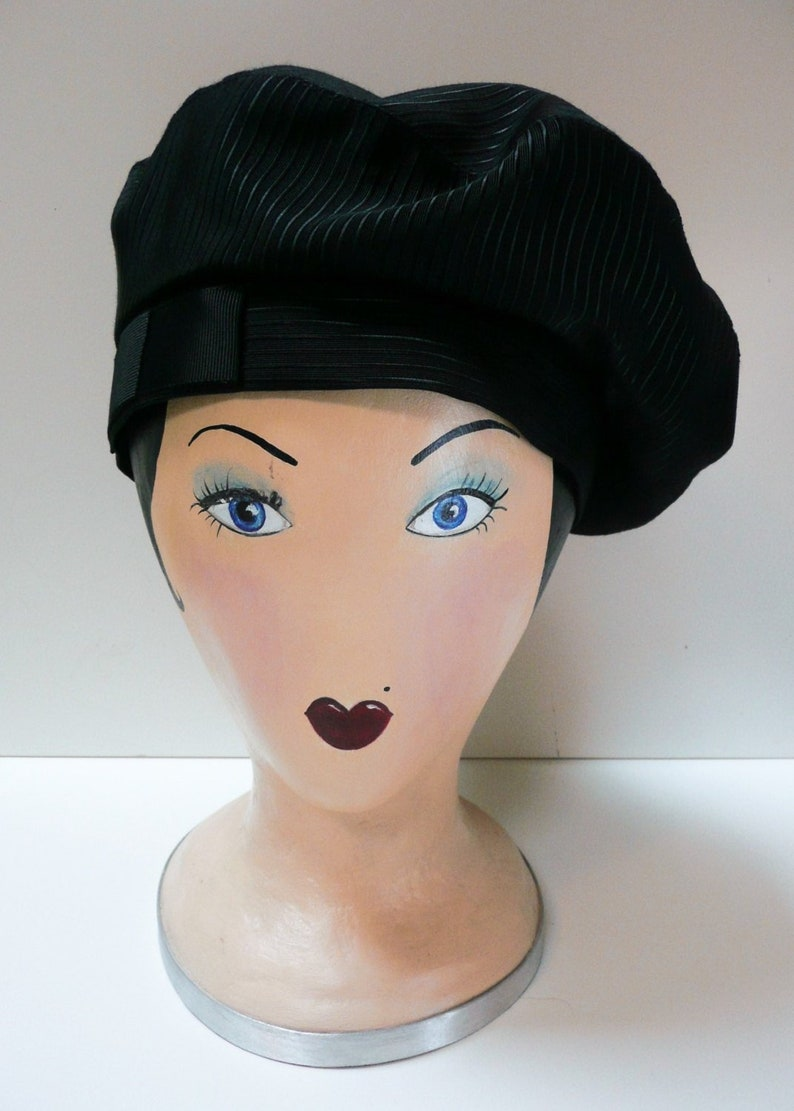 f191ad6fb 1930s Sailor Beret with petersham bow // Vintage Style French Beret //  Women's Black Faille Beret // Coco Chanel hat