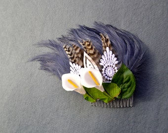 Moss - Feather and Flower Comb - Fascinator