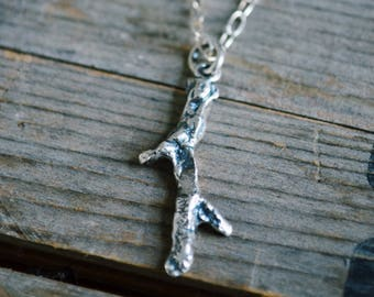 Recycled Silver Twig Necklace