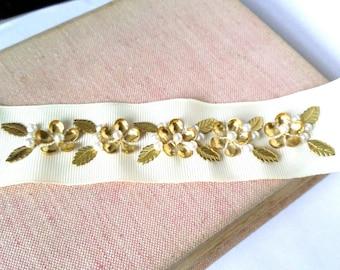 Gold flower bridal belt, gold leaf bridal sash, Grecian pearl and gold, bridal accessories
