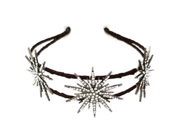 Deco star crown, silver rhinestone star headpiece, Deco bridal headpiece, star headband