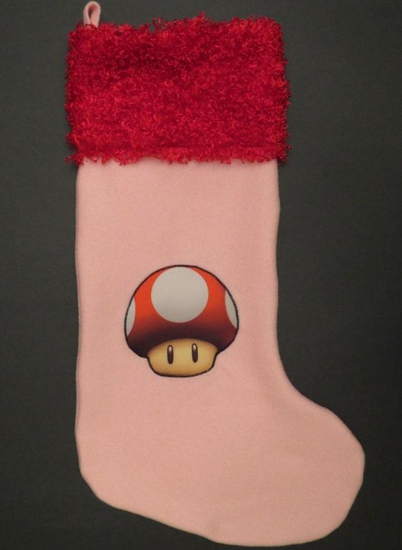 Super Mario Christmas Stocking.Super Mario Bros Mushroom Christmas Stocking
