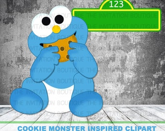 BABY COOKIE Monster Clipart Hand Drawn Digital File INSTANT Download