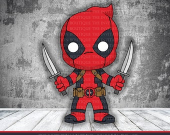 Chibi Deadpool Clipart INSTANT DOWNLOAD