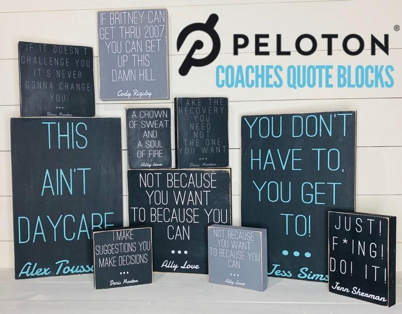 Peloton wood quote block funny coach quotes peloton bike etsy