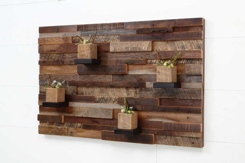 Reclaimed wood wall art 37x24x5 Large art image 0