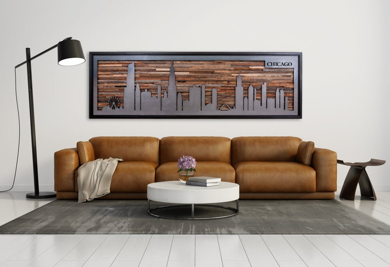 City skyline made from reclaimed barnwood and natural black steel  Large  art, wood wall sculpture, Wood wall art