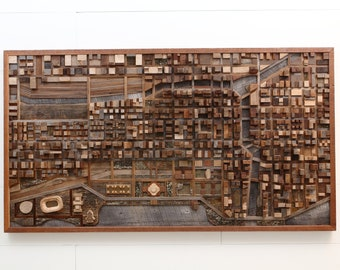 Chicago wood cityscape artwork made entirely out of old reclaimed wood, large wood wall art