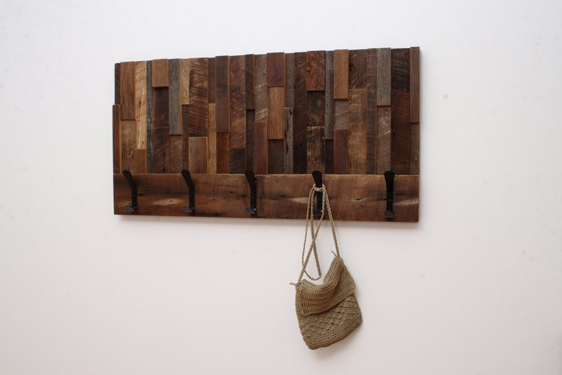 Reclaimed wood art coat rack 36x18.5x4 image 0