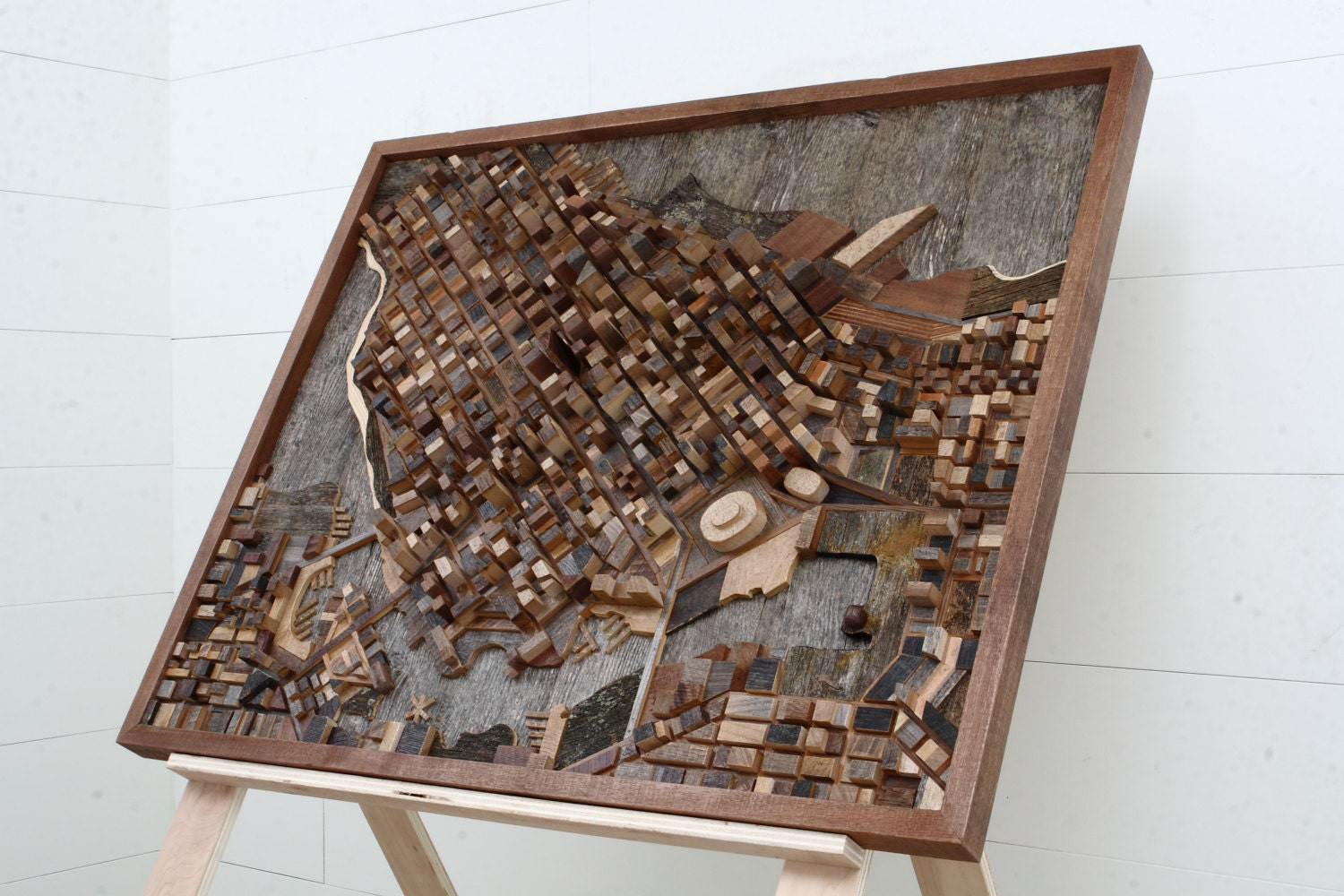 Vancouver Cityscape Reclaimed Wood Wall Art 44 5 X Etsy