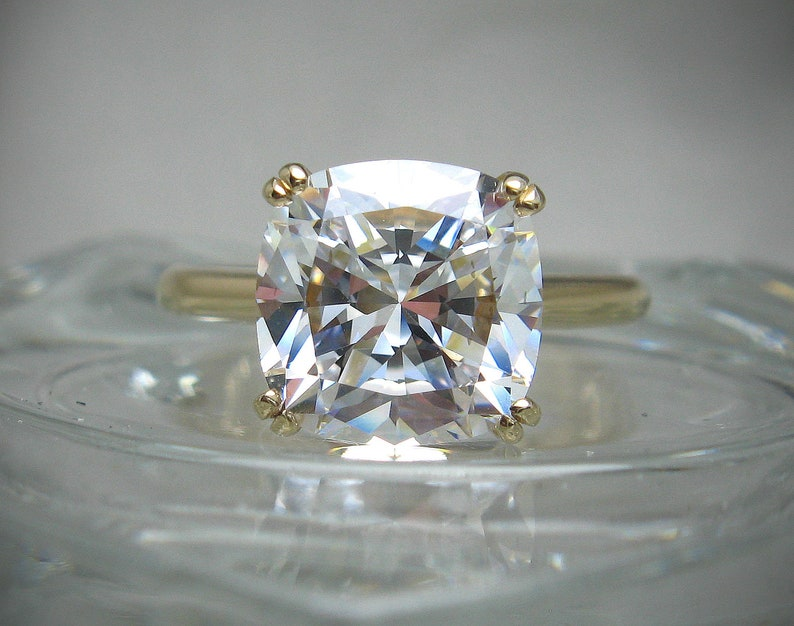 Cushion Cut Cubic Zirconia Cz Engagement Ring White Cz Version 10mm 5 Cts Quality Vintage Cut Sterling Silver Or 10k Gold Made To Order